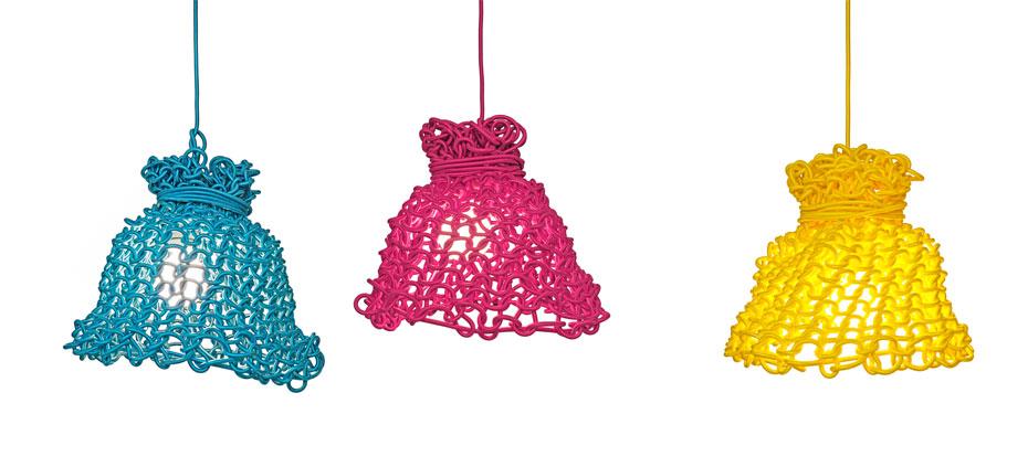 dekorative Beleuchtung käte Lampe aus Stromkabeln stricken – Käte von Fremdform.de