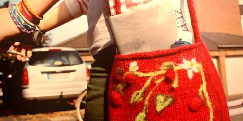 Filztasche mit Blumenranken filzen in der waschmaschine Filzen in der Waschmaschine