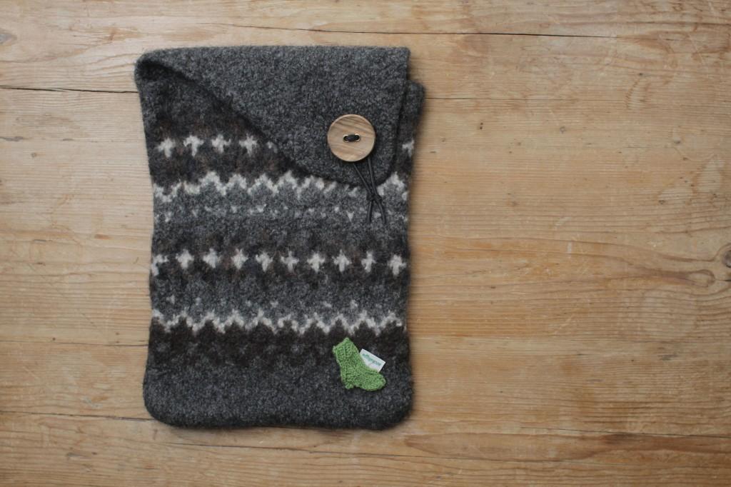 Laptoptasche stricken aus Filzwolle