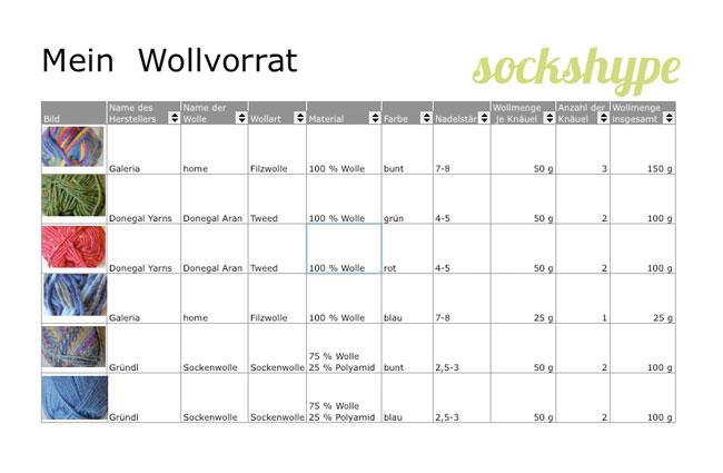 Wollvorrat-Uebersicht Wollvorrat Wollvorrat katalogisieren mit Excel