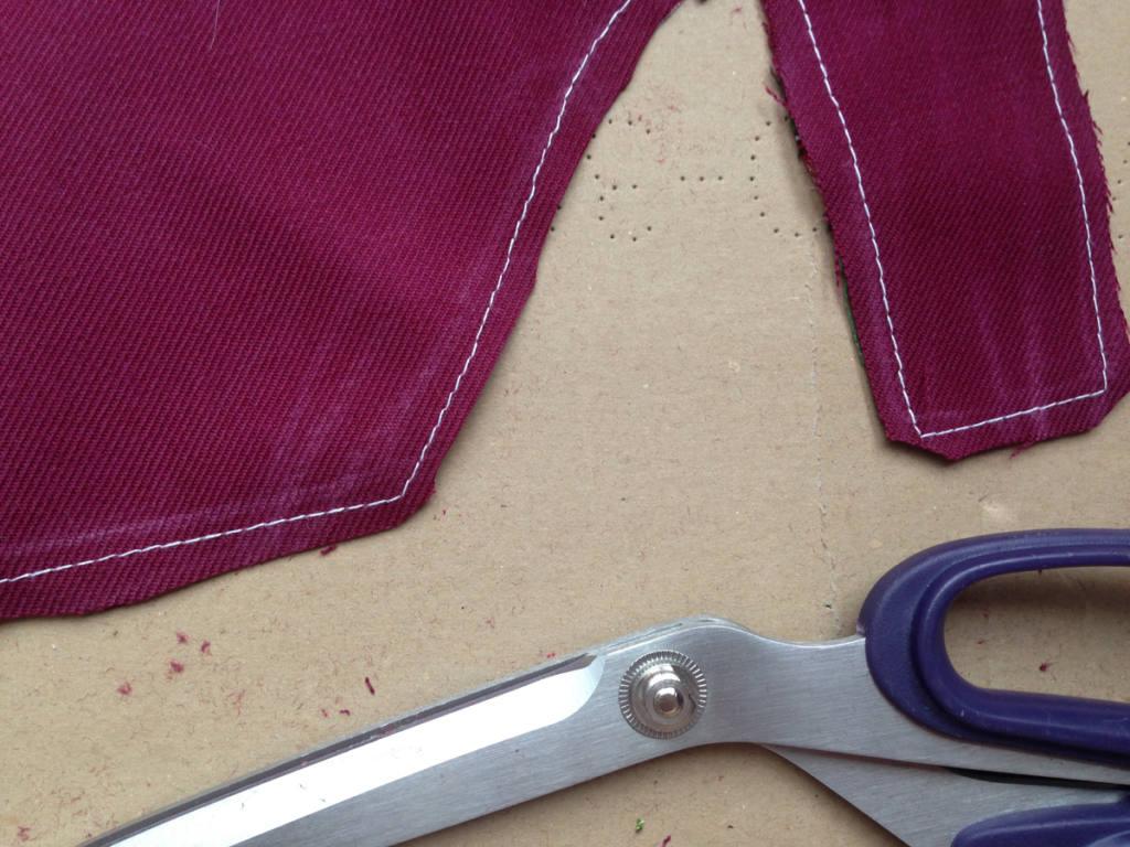 Cut fabric diagonally for clean corners