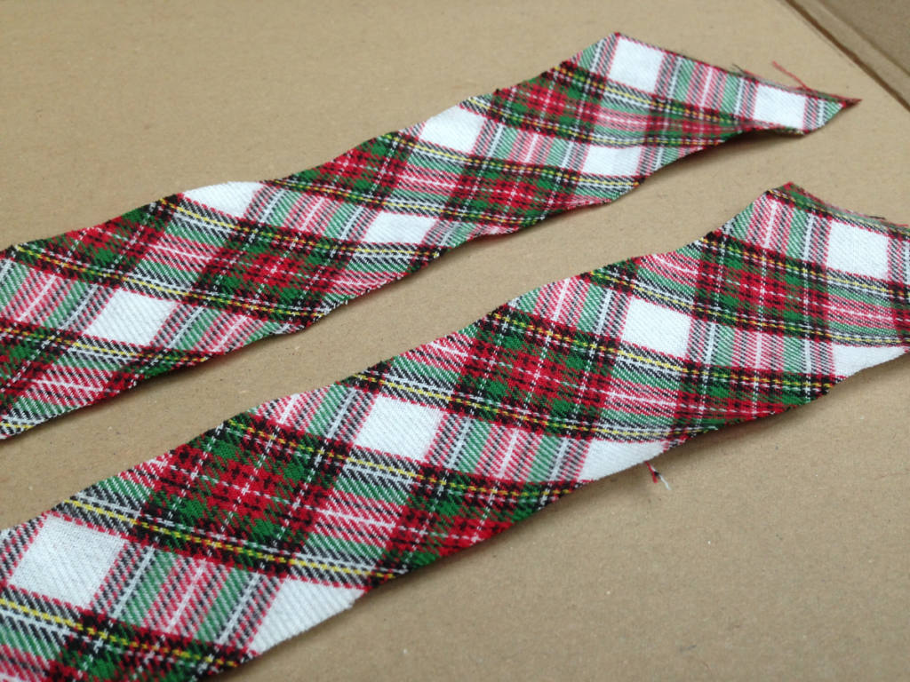 How to sew a christmas stocking easy: Create a slanting strip of Christmas fabric