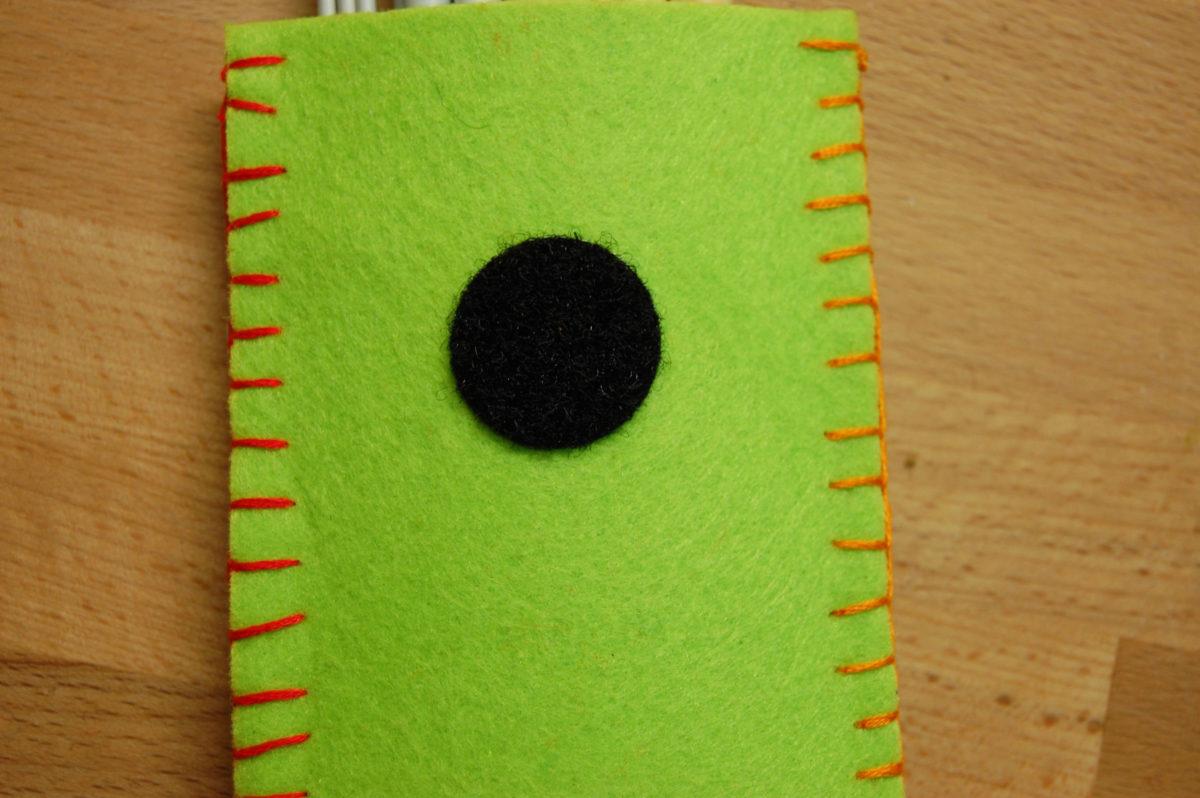 Klettpunkt auf Filzetui für Strick- und Häkelnadeln aufbewahrung DIY Aufbewahrung für Strick- und Häkelnadeln