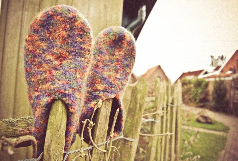 Gemacht mit Liebe und Wolle: Filzpantoffeln stricken Felt slippers Tutorial: Felt slippers knitting pattern