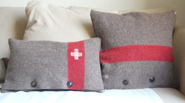 Kissen nähen aus schweizer Armeedecke
