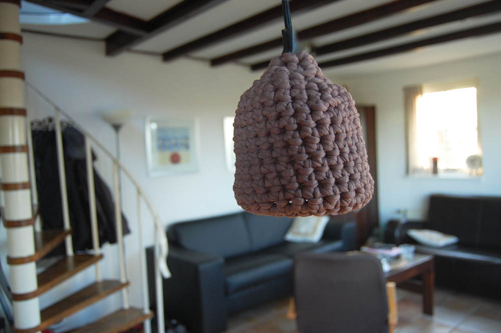 Lampe Schirm Textilgarn fadenring häkeln Tipp: Magic Loop oder Fadenring häkeln
