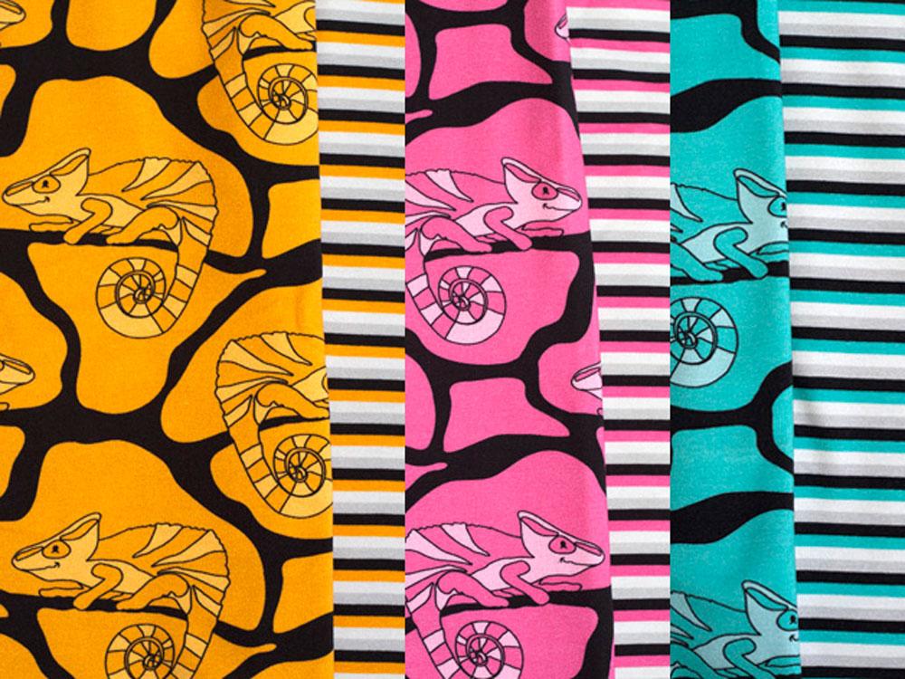Erdlöwen in drei unterschiedlichen Farben astrokatze Natascha Krchov entwirft tolle Stoffe unter dem Label ASTROKATZE