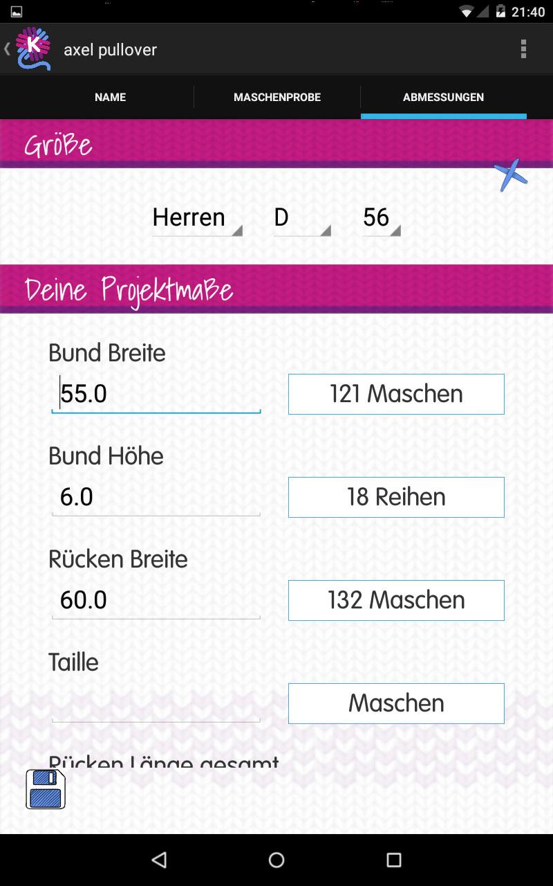 Knitulator_Projektmasse knitulator Knitulator – die App zum Stricken und Häkeln