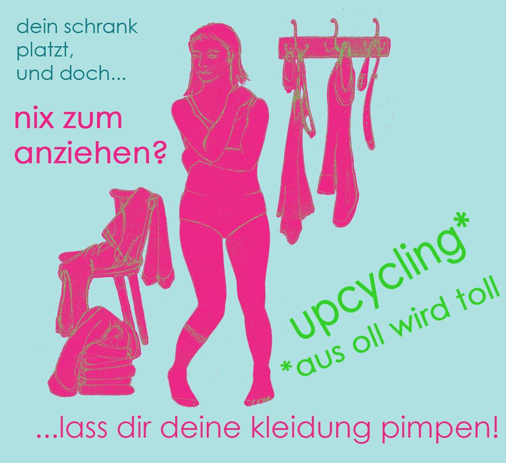 Upcycling-Kleidung aus-oll-wird-toll, Plakat von Rachel Kopp Schneiderin Rachel Kopp fertigt hochwertige Upcycling-Kleidung