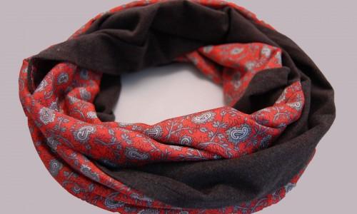 Loop-nähen-rot-grau Thema des Monats Oktober 2015: Tücher, Schals und Loops