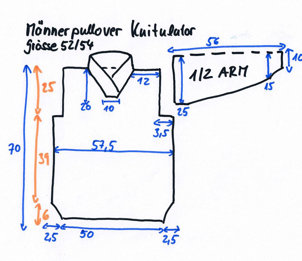 Knitulator-Männerpullover stricken-Maße Größe 52/54 männerpullover stricken Knitulators Männerpullover stricken mit Zopf und Schalkragen