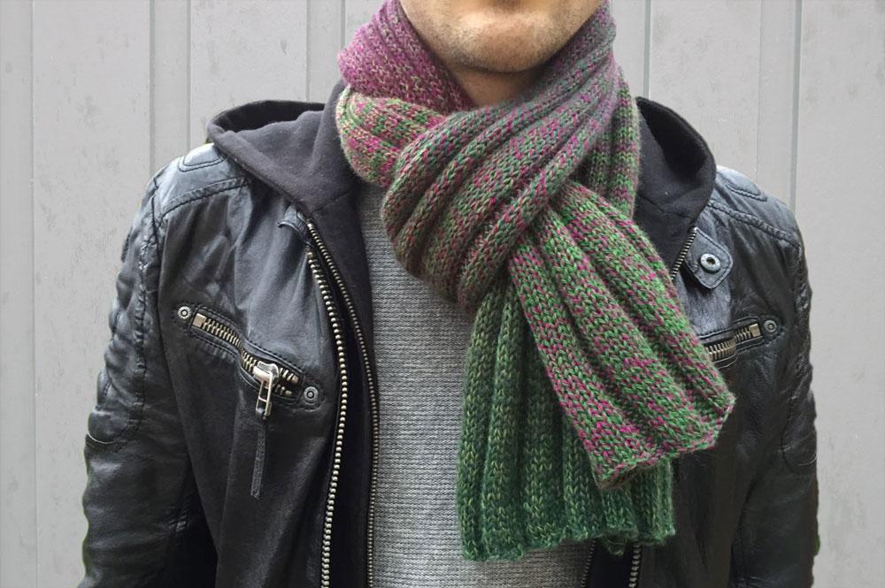 Schal stricken mit Verlaufsgarn Anleitung: Männerschal stricken mit Verlaufsgarn