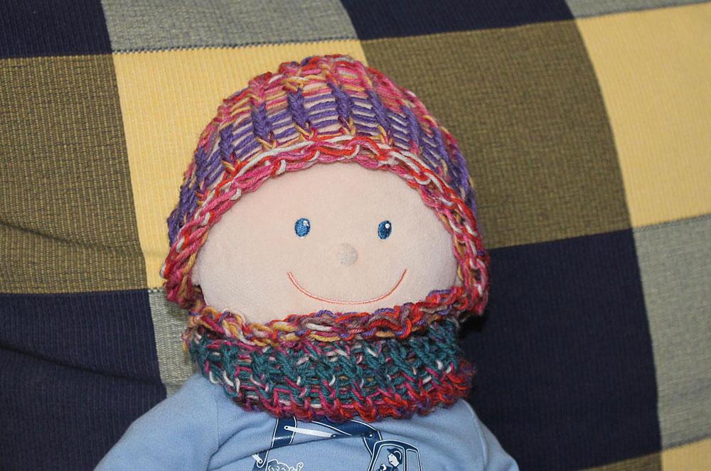 Kinder stricken - Mütze für Puppe