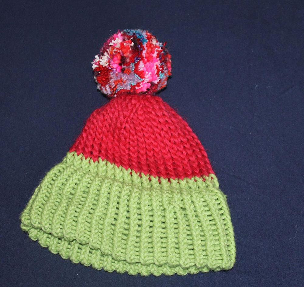 Kinderstricken - Mütze mit Strickring gestrickt