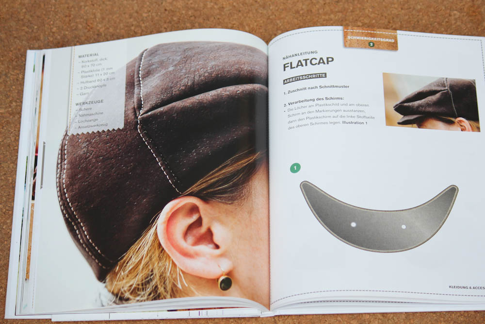 Nähen mit Kork - Flatcap Buchbesprechung: Nähen mit Kork von Carmo da Silva