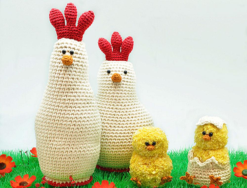 Osterdeko selber machen – Hühnerfamilie häkeln
