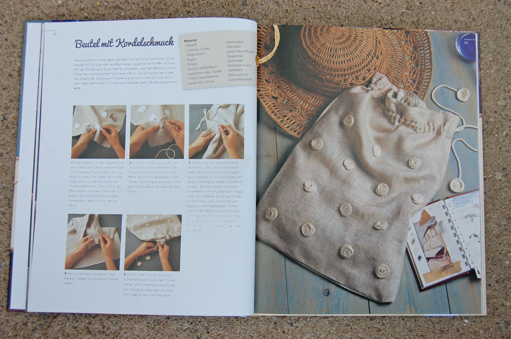 Kreativ mit Kordeln - Schnecken auf Schuhbeutel