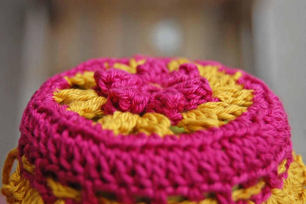 Marmeladenglashäubchen häkeln - Pink/Senf
