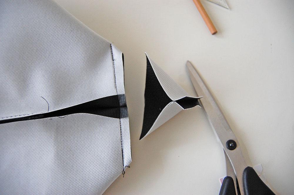 Rucksack nähen - Ecke wird abgeschnitten