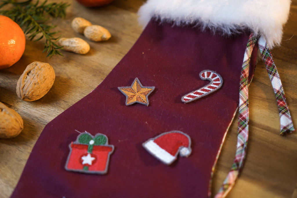 How to sew a christmas stocking easy with embroidery by makema.de