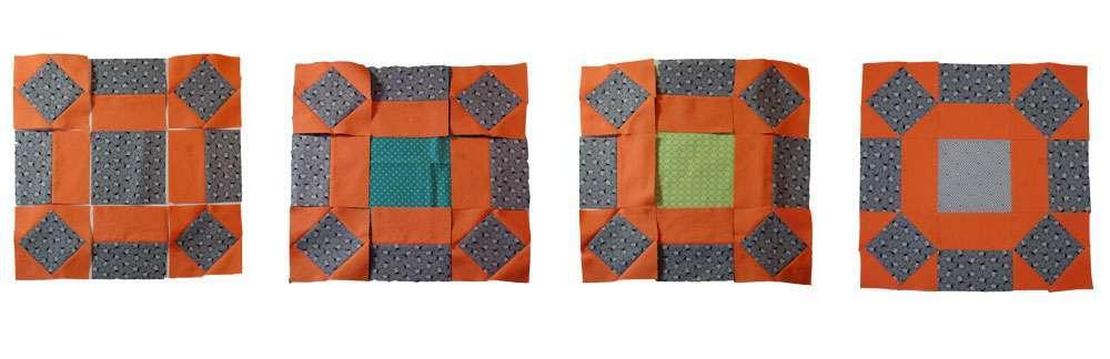 6 Köpfe - zwölf Blöcke - Januarblock - Farbwahl im Mittelblock Quilt-Along 6 Köpfe – zwölf Blöcke DER JANUARBLOCK