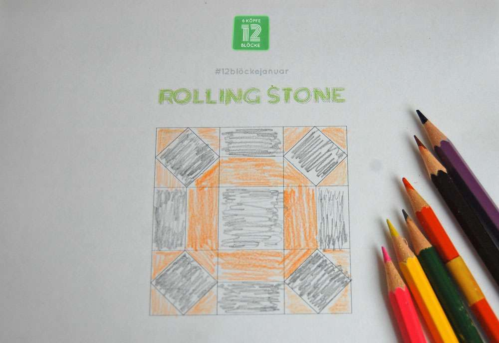 6 Köpfe - zwölf Blöcke - Januarblock - Entwurf des Rolling Stone Quilt-Along 6 Köpfe – zwölf Blöcke DER JANUARBLOCK