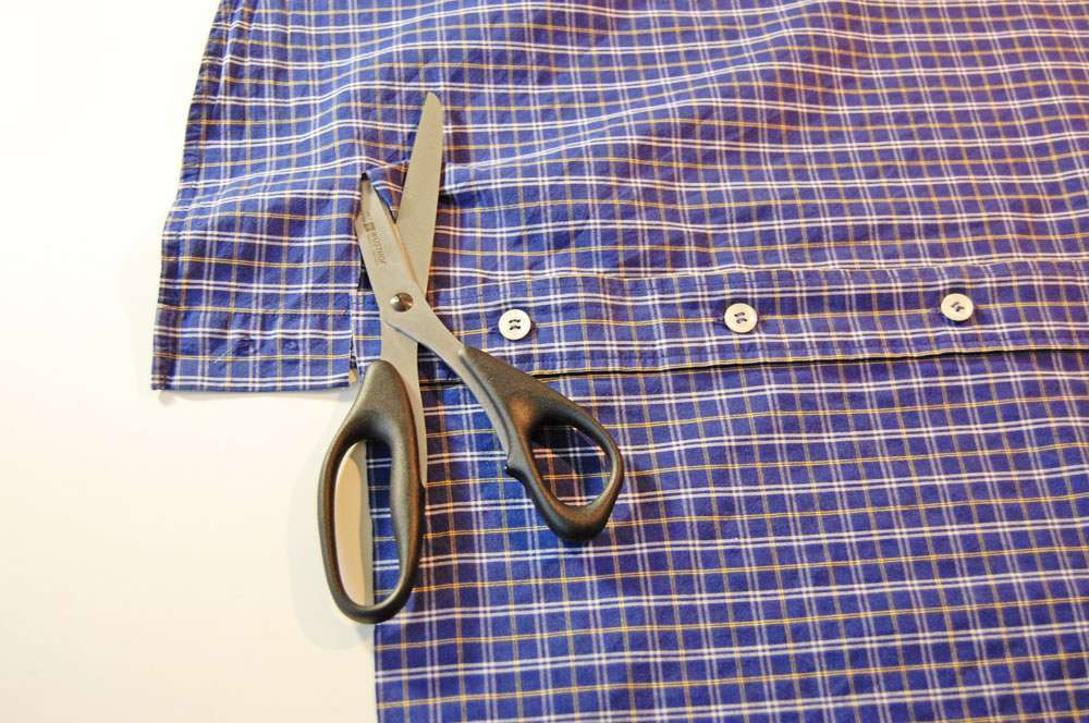 Tasche aus Oberhemd nähen – Tasche zuschneiden stoffbeutel nähen Upcycling: Tasche aus Hemd nähen