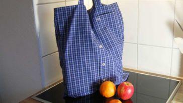 Stoffbeutel nähen aus Oberhemd - Titelbild stoffbeutel nähen Upcycling: Tasche aus Hemd nähen