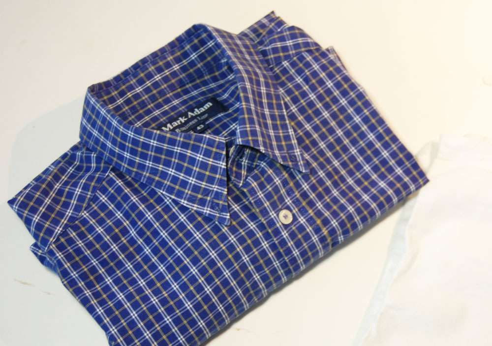 Tasche aus Hemd nähen – Oberhemd stoffbeutel nähen Upcycling: Tasche aus Hemd nähen