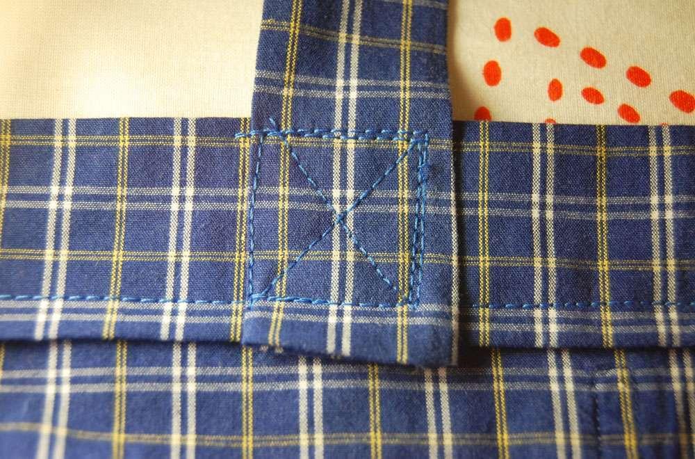 Stoffbeutel nähen aus Oberhemd - Träger festnähen stoffbeutel nähen Upcycling: Tasche aus Hemd nähen