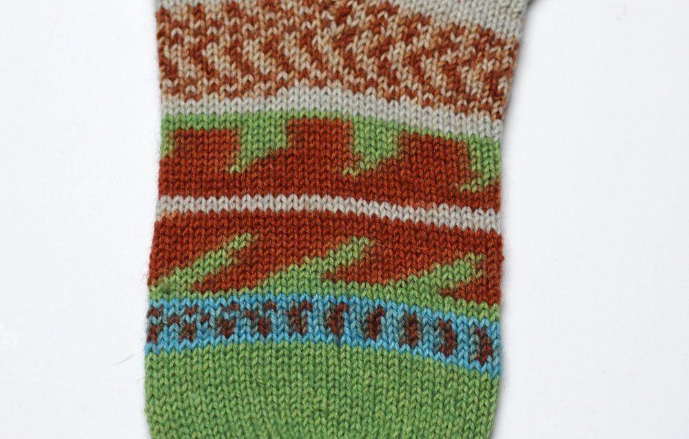 Toe Up Socken - Maschenbild beim Stricken