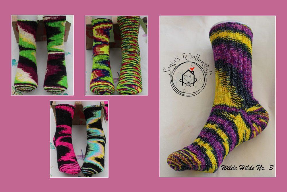 Sonja's Wollanstalt _ Sonja Janssen - Socken mit wildernde Farbflächen sonja's wollanstalt Sonja Janssen färbt farbenfrohe Garne in Sonja's Wollanstalt