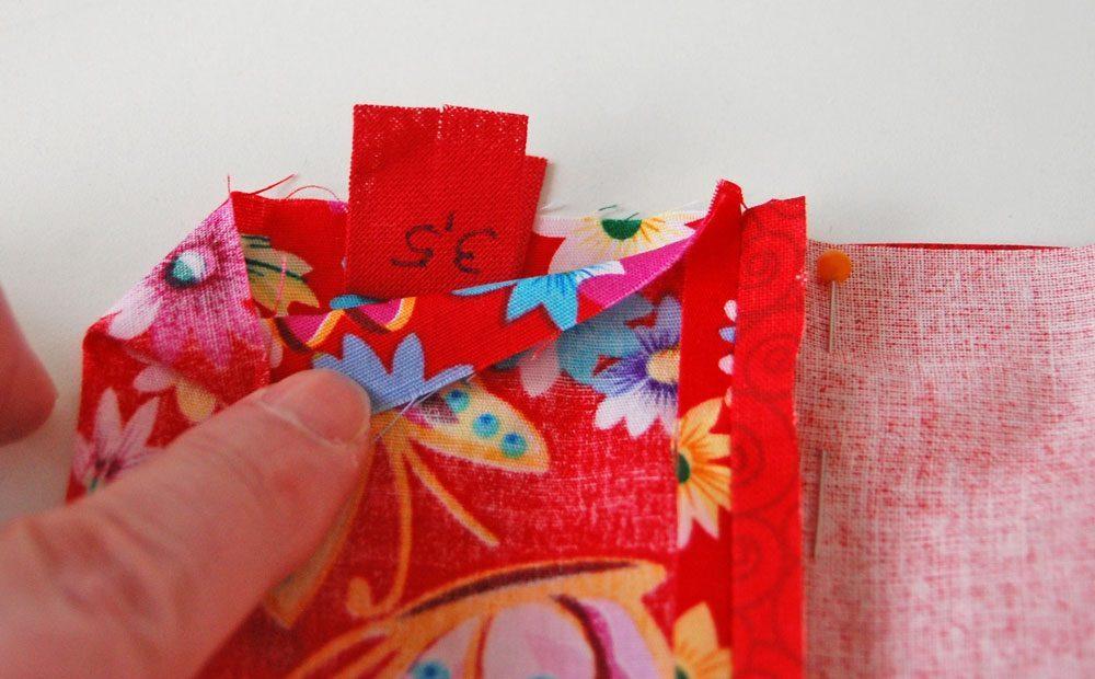 Tasche für das Nadelspiel - Größenschild