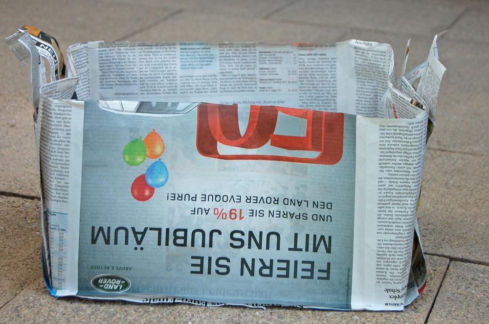 Zeitungskorb nähen Filz - Prototyp aus Zeitung
