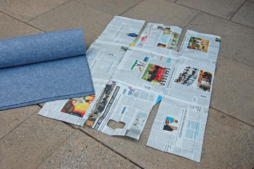 Zeitungskorb nähen Filz - Schnittmuster