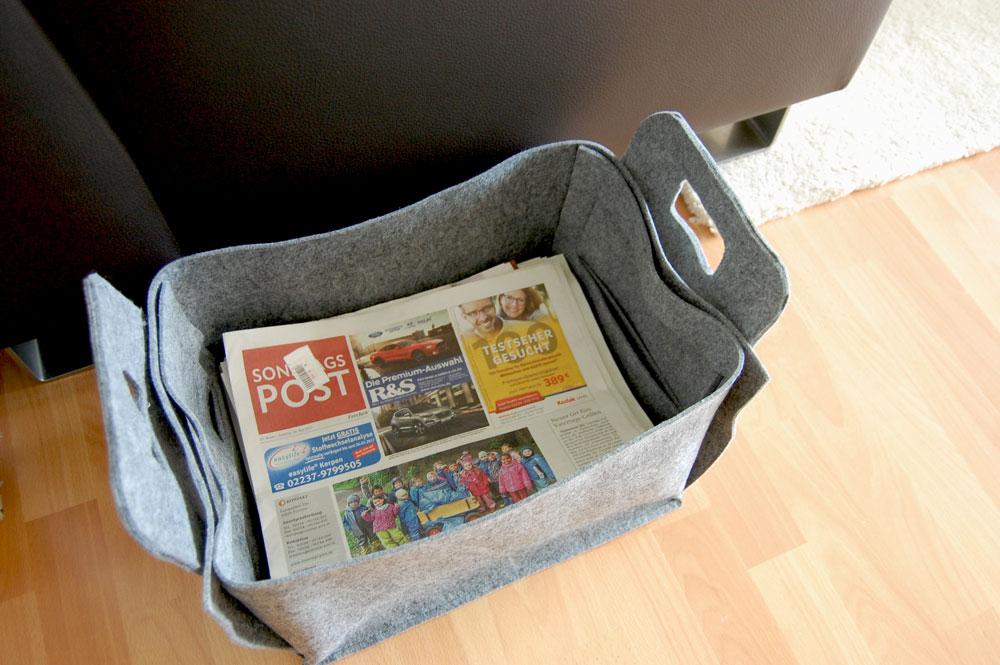 Zeitungsständer nähen - verbesserungswürdiges Modell