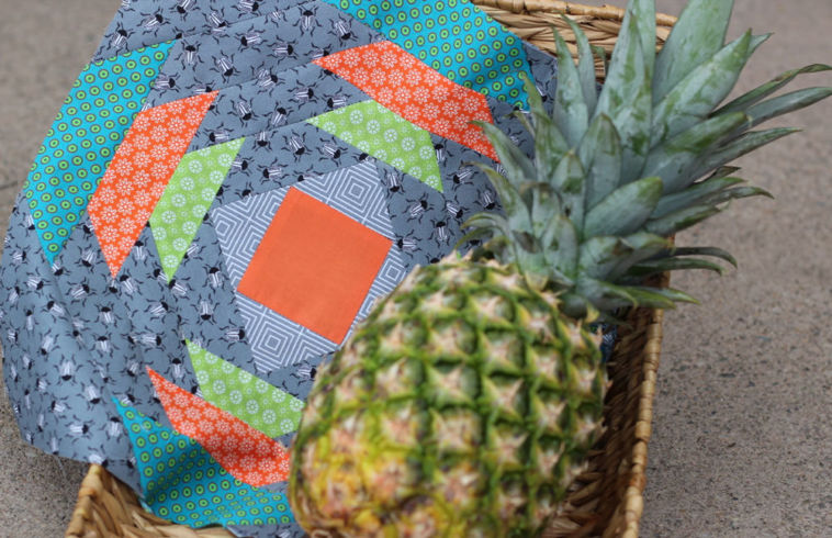6 Köpfe 12 Blöcke Juni, Pineapple Quilt Along 2017