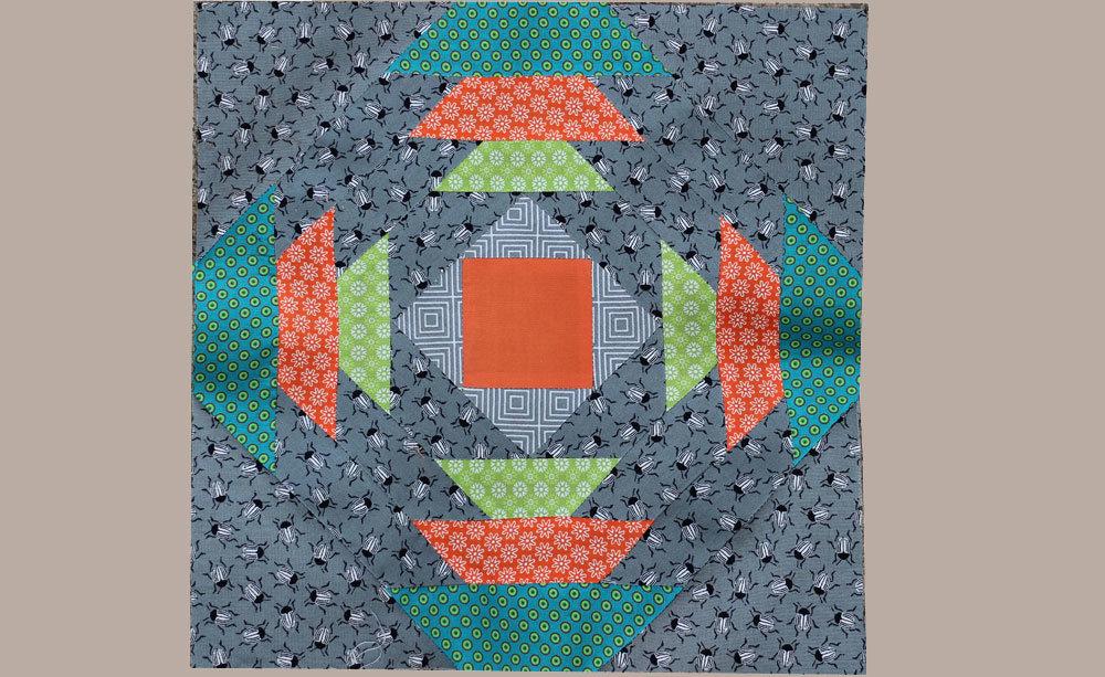 6 Köpfe 12 Blöcke Juni, Pineapple Quilt along 2017 - Rechtecke aus Käferstoff