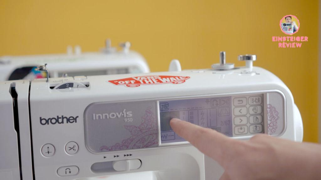 Tolle Nähmaschine für Anfänger: Über das LCD-Touch-Display der Brother Innovis 950 / 955 lassen sich Stichart & -länge auswählen.