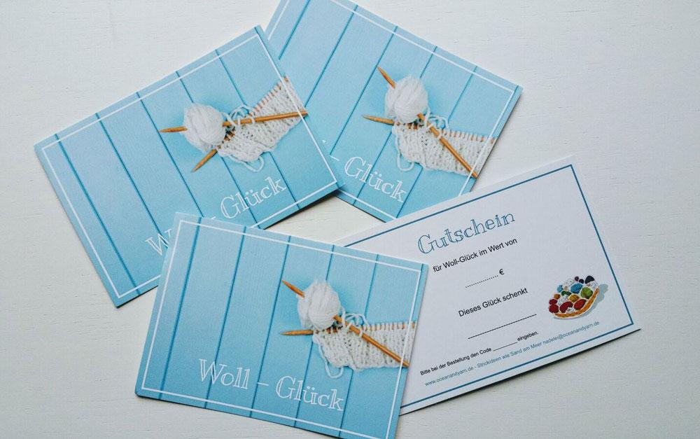 Geschenke für einen Stricker - Woll-Glück, Wollgutscheine von Oceanandyarn geschenke für stricker 12 tolle Geschenke für Stricker, die begeistern