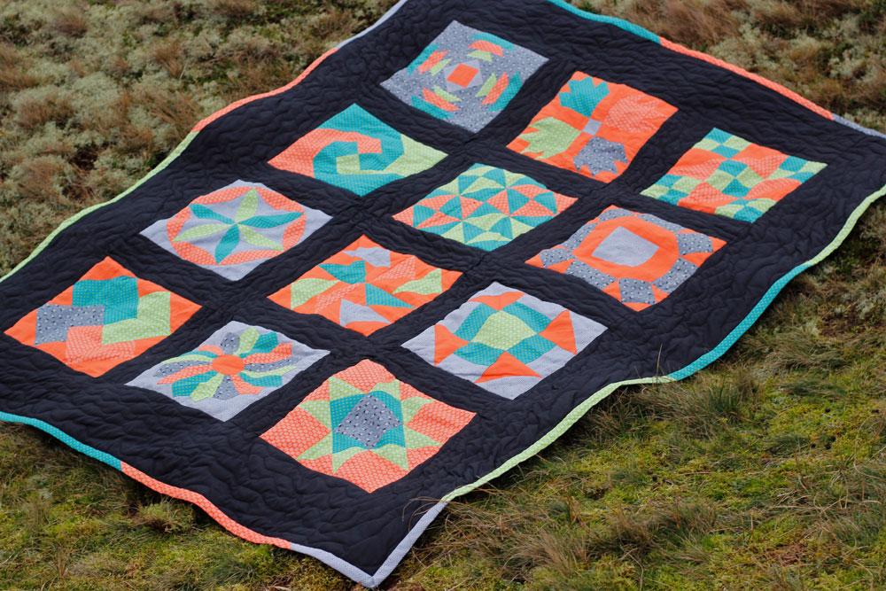 6 Köpfe 12 Blöcke Quilt in den Dünen