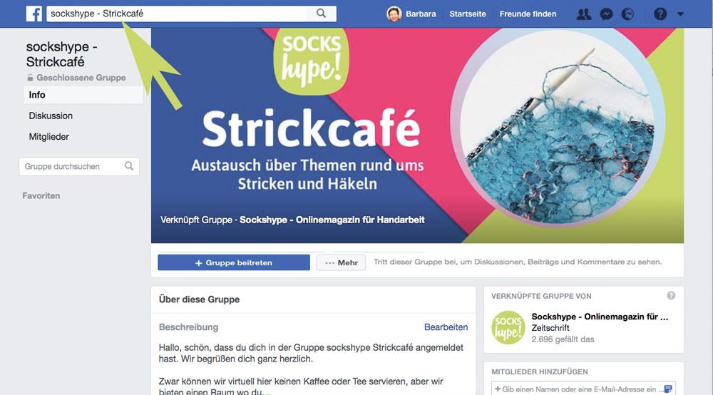 Gib ins Suchfeld: sockshype-Strickcafé ein. sockshype strickcafé Die Facebook-Gruppe – sockshype Strickcafé