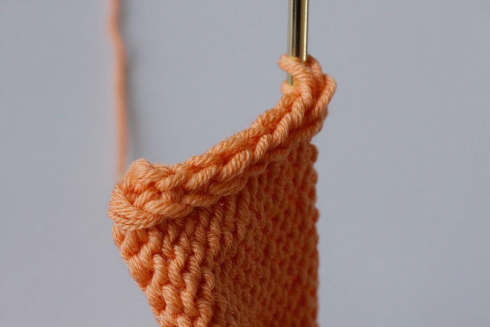 Randmaschen stricken: Der I-Cord-Rand ist dick und voluminös