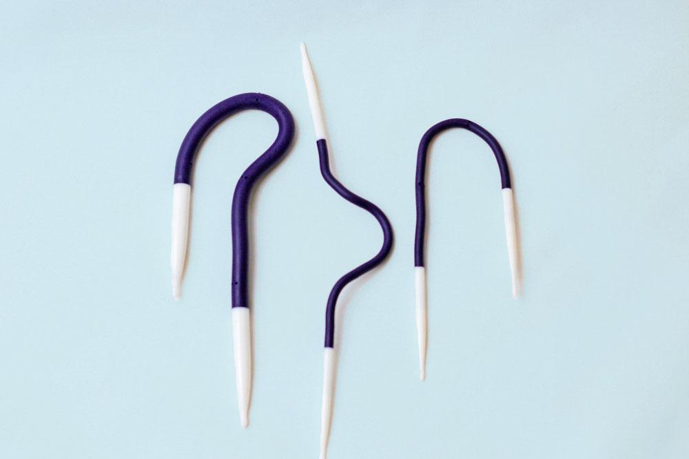 Durch den flexiblen Schaft können die Yoga Nadeln in jede beliebige Form gebracht werden.