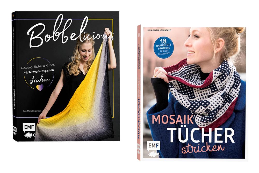 Bobbelicious stricken und Mosaiktücher stricken - Beide Bücher von Julia Maria Hegenbart