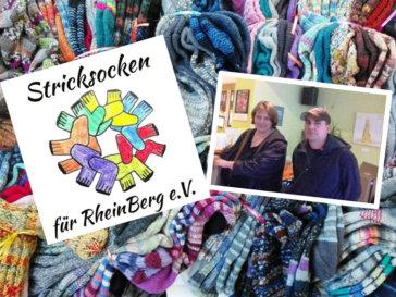 Stricksocken für RheinBerg - Titelbild mit Logo und Vereinsmitgliedern