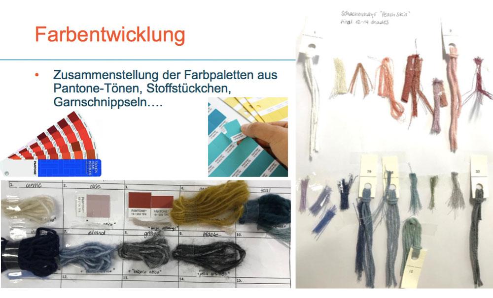 Von der Idee zum fertigen Wollknäuel: Garne, Stoffstückchen und Panton-Farbkarten werden zur Farbentwicklung benötigt.