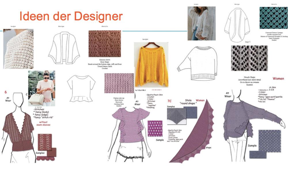 Von der Idee zum fertigen Wollknäuel: Aus den Ideen der Strickdesigner werden Modelle ausgewählt.