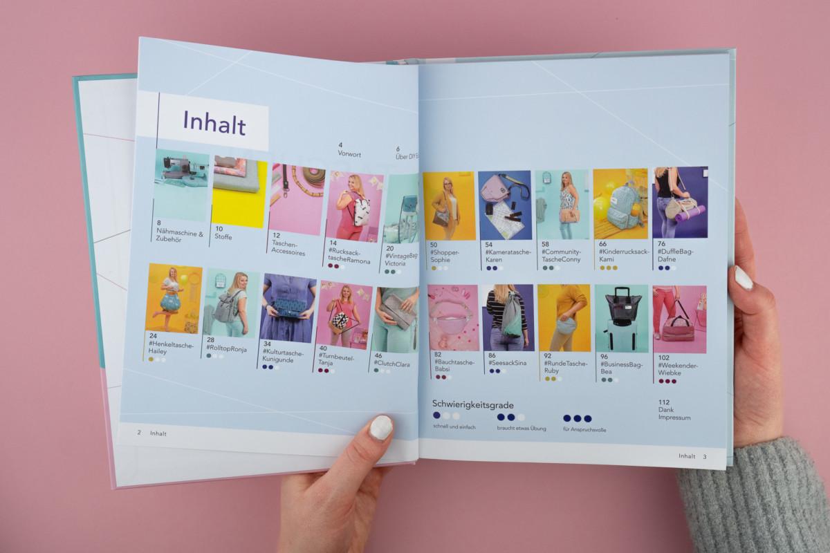 Diese Anleitungen und Schnittmuster zu diesen vielfältigen Taschen gibt es im neuen DIY Eule Buch!