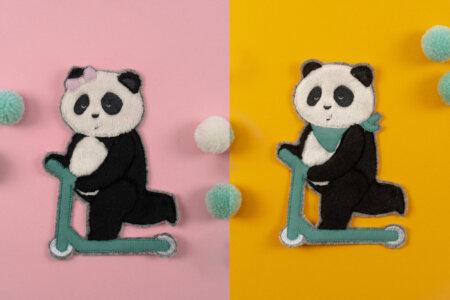Stickdateien Panda auf Roller